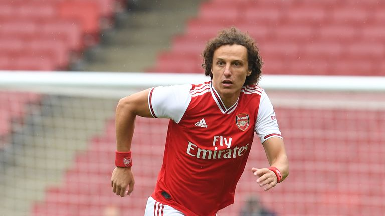 David Luiz of Arsenal during a friendly match between Arsenal and Brentford at Emirates Stadium on June 10, 2020 in London, England.