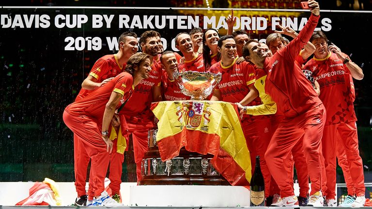 Team Spain celebrate take a group selfie after winning the Davis Cup last year