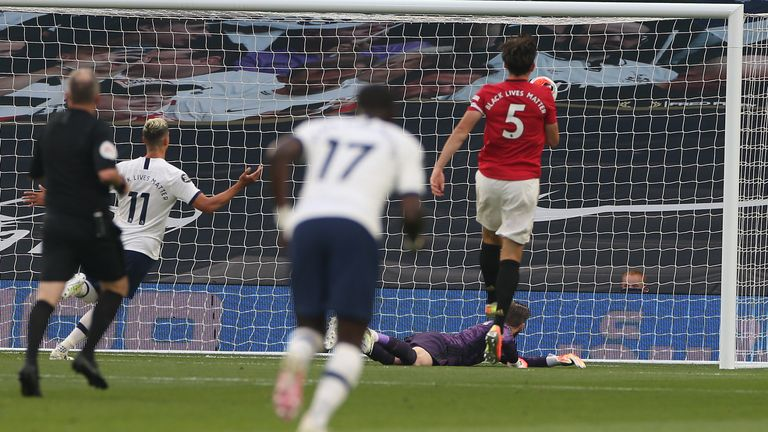 De Gea could only parry Steven Bergwijn's shot into the roof of the net