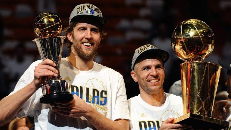 Dirk Nowitzki and Jason Kidd celebrate the Mavericks' 2011 NBA title triumph