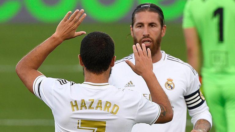Eden Hazard and Sergio Ramos celebrate