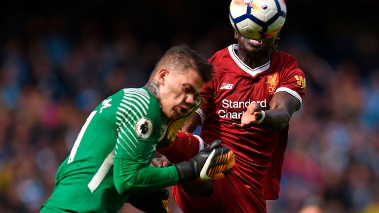 Sadio Mane was sent off after a collision with Ederson in 2017