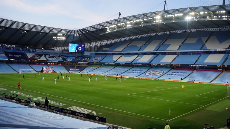 A general view of the Etihad Stadium during Manchester City's match against Arsenal