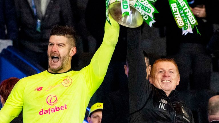 Fraser Forster and Neil Lennon lift the Betfred Cup trophy in December 2019