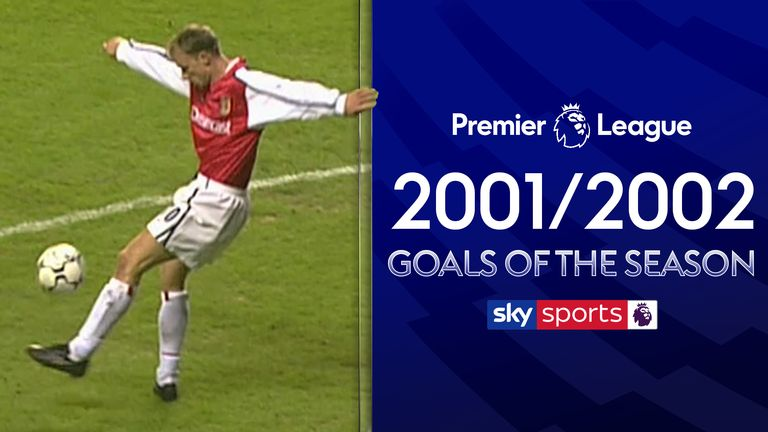 Take a look back at the 2001/2002 Premier League Goal of the Season contenders including iconic goals from Dennis Bergkamp, Trevor Sinclair and David Beckham.