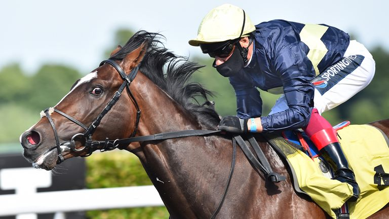 Kempton Races - June 2 Frankie Dettori wins his first race back after the coronovirus lockdown with victory on Galsworthy in The Unibet Casino Deposit �10 Get �40 Bonus Maiden Stakes at Kempton Racecourse.