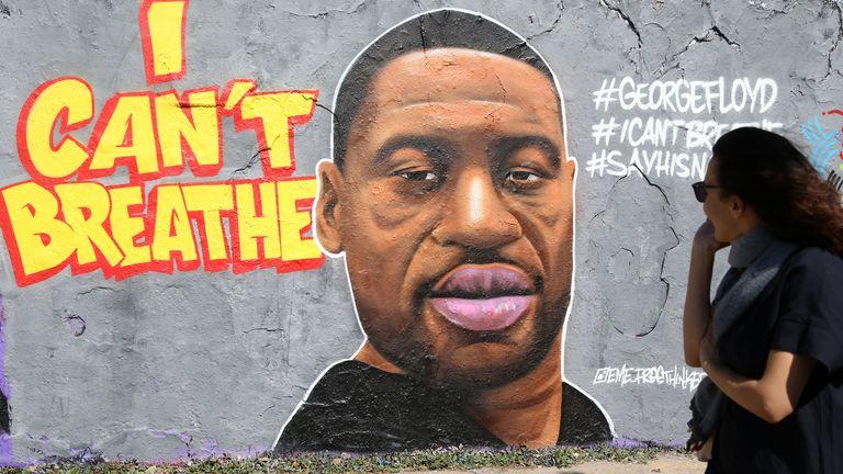 Street art commemorating George Floyd is seen in Berlin, Germany