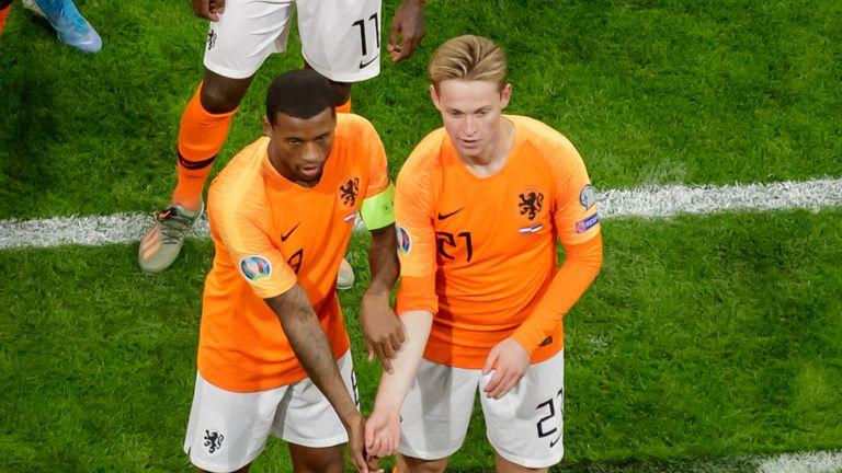 Wijnaldum and Netherlands team-mate Frenkie De Jong made an anti-racism gesture following incidents of racism in Dutch football in 2019