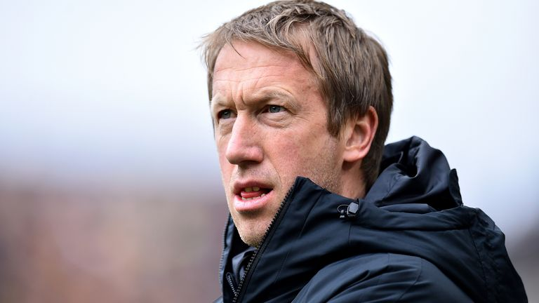 Graham Potter, Manager of Brighton and Hove Albion looks on prior to the Premier League match between Wolverhampton Wanderers and Brighton & Hove Albion at Molineux on March 07, 2020 in Wolverhampton, United Kingdom. (