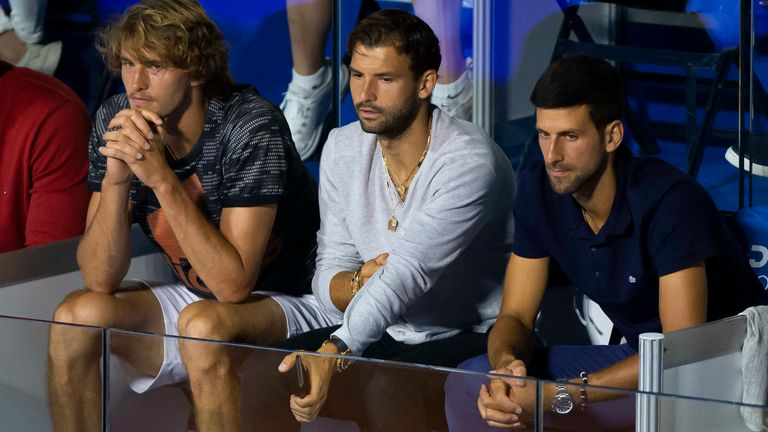 Grigor Dimitrov (centre) was joined by Alexander Zverev and Novak Djokovic in the first Adria Tour event in Belgrade
