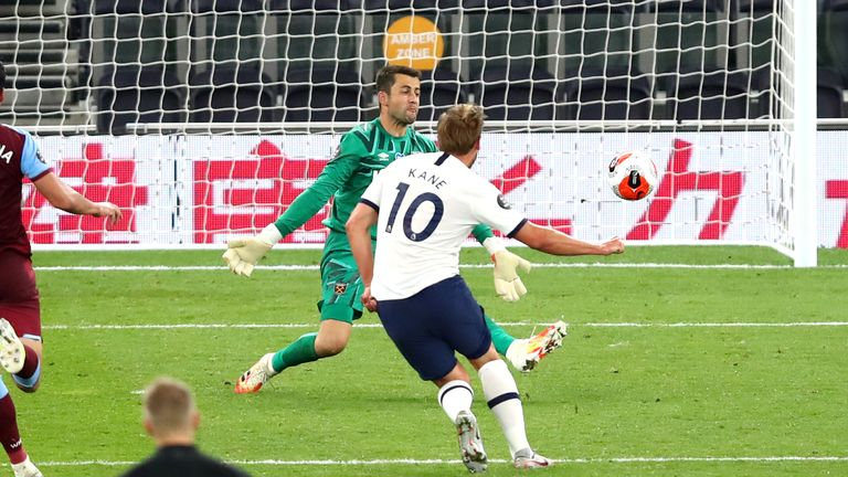 Harry Kane scores against West Ham