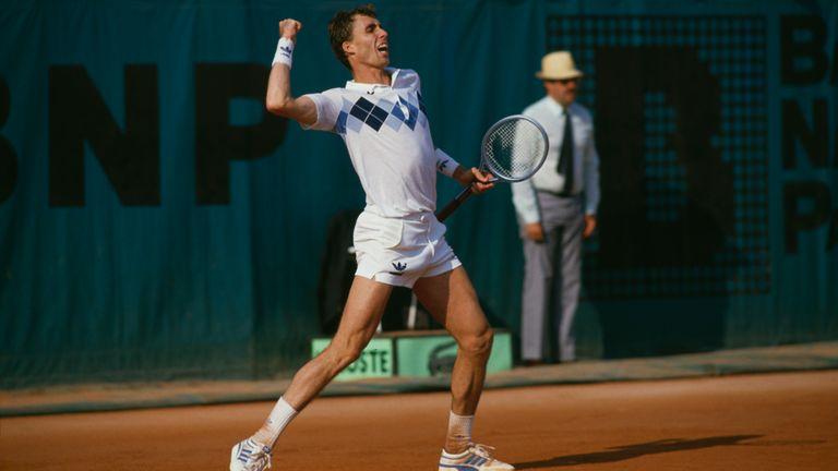 Lendl celebrates beating McEnroe in five sets