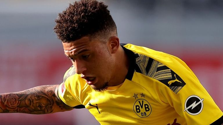Jadon Sancho scored a hat-trick against SC Paderborn 07 at the weekend before having his hair cut