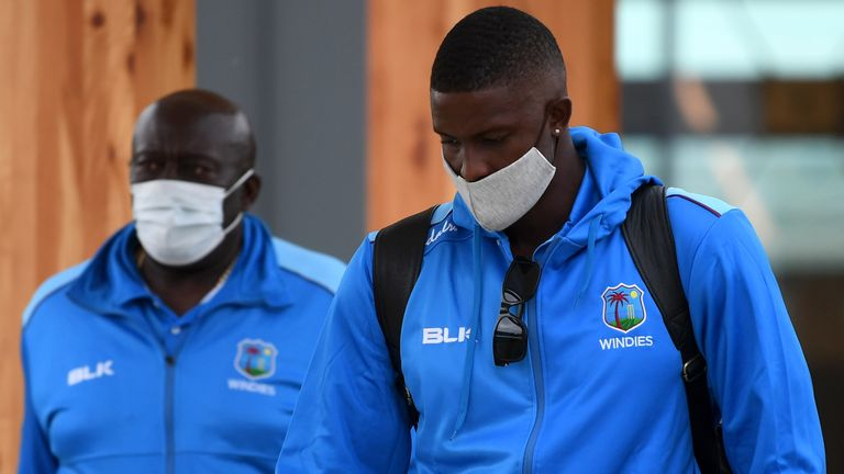 West Indies captain Jason Holder and assistant coach Roddy Estwick arrive in England