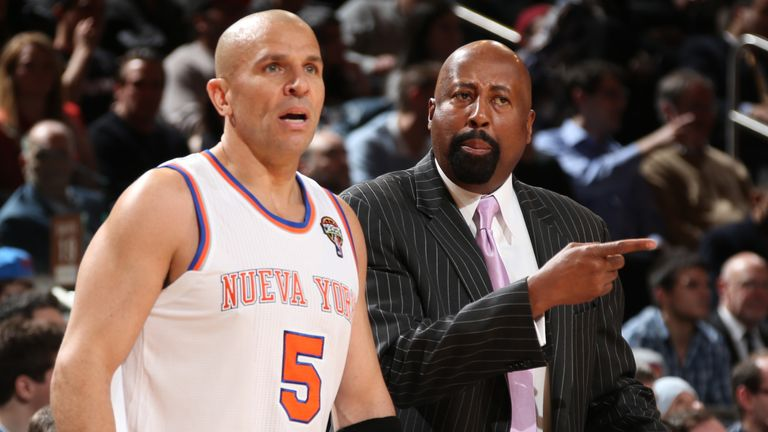 Jason Kidd and Mike Woodson on the Knicks' sideline during the 2012-13 season
