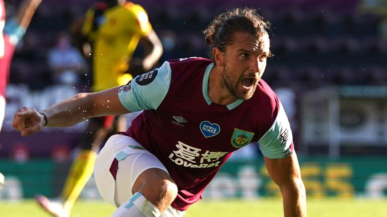 Jay Rodriguez celebrates after scoring for Burnley against Watford