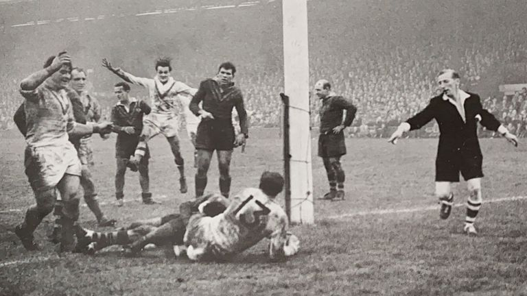 Johnny Whiteley scores for Great Britain during the 1959 Ashes Test at Leeds
