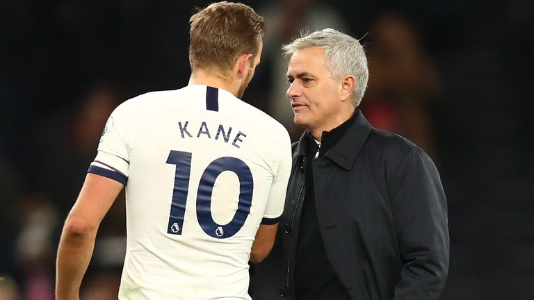 Jose Mourinho, Manager of Tottenham Hotspur congratulates Harry Kane of Tottenham Hotspur following the Premier League match between Tottenham Hotspur and AFC Bournemouth at Tottenham Hotspur Stadium on November 30, 2019 in London, United Kingdom