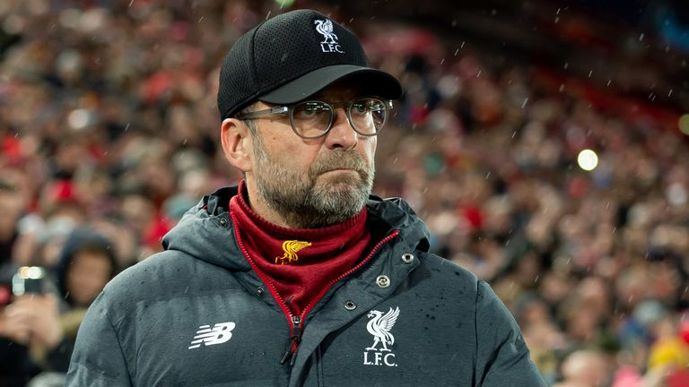 LIVERPOOL, ENGLAND - MARCH 11: (BILD ZEITUNG OUT) head coach Juergen Klopp of Liverpool FC looks on prior to the UEFA Champions League round of 16 second leg match between Liverpool FC and Atletico Madrid at Anfield on March 11, 2020 in Liverpool, United Kingdom.