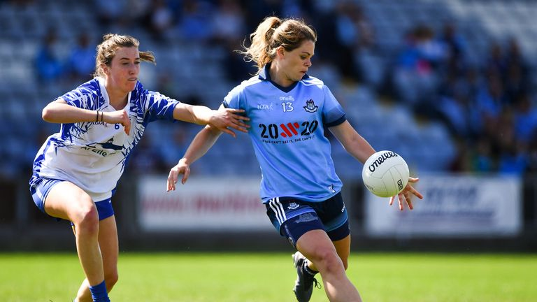 McGrath in action against Dublin's Noelle Healy of Dublin in the 2019 championship