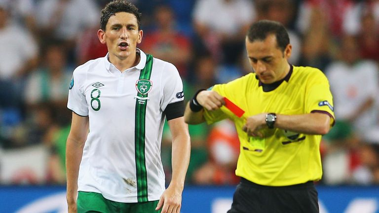 Keith Andrews sent off in Ireland's final group game v Italy in Euro 2012.