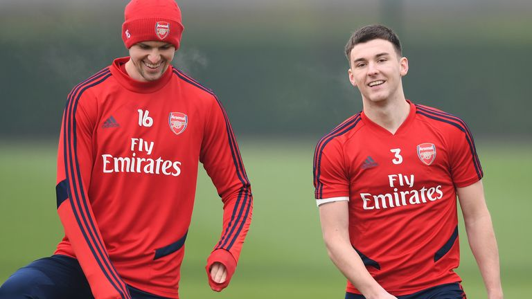 Rob Holding (left) and Kieran Tierney (right) may have a bright future at Arsenal