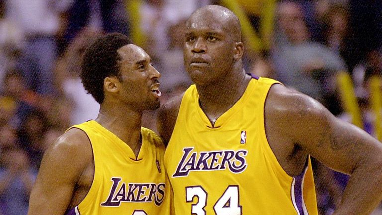Kobe Bryant encourages Lakers team-mate Shaquille O'Neal during the 2000 Western Conference Finals