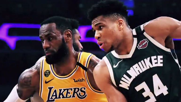 MVP rivals LeBron James and Giannis Antetokounmpo compete for possession