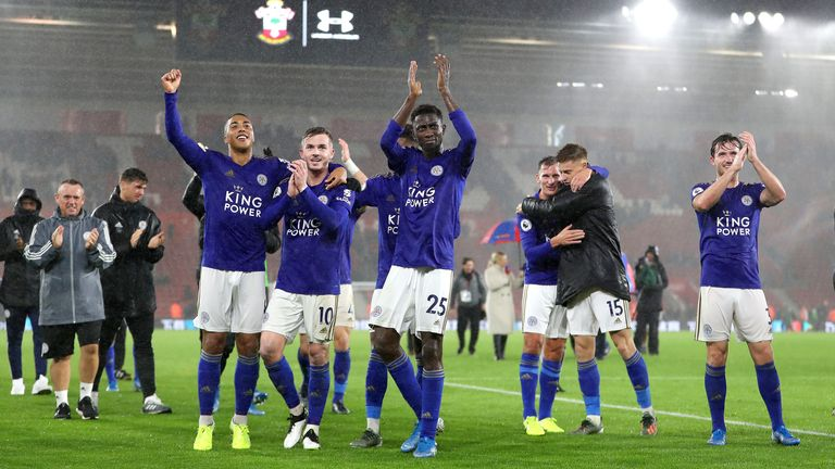 Leicester players celebrate after thrashing Southampton