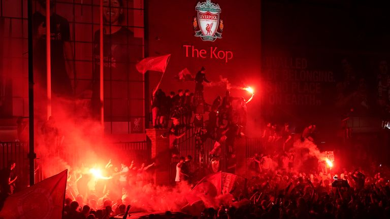 Celebrations for Liverpool's title win continued 24 hours later