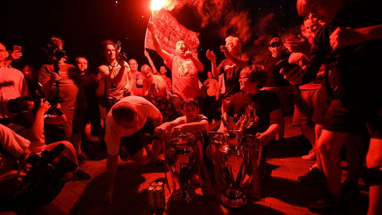 Liverpool supporters gathered in their numbers to celebrate their side's Premier League title