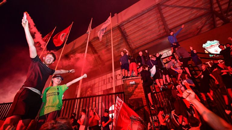 Liverpool fans celebrated their first Premier League title outside Anfield