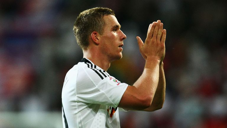 Lukas Podolski of Germany celebrates after scoring the second goal during the UEFA EURO 2008 Group B match between Germany and Poland at Worthersee Stadion on June 8, 2008 in Klagenfurt, Austria
