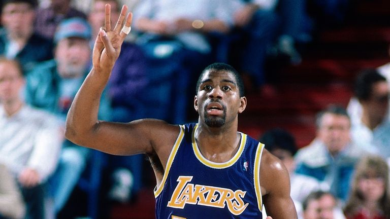 Magic Johnson of the Los Angeles Lakers dribbles during a game played circa 1987