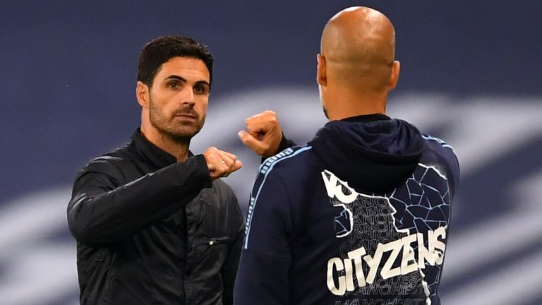 Arsenal boss Mikel Arteta will face his old club Manchester City in the last four