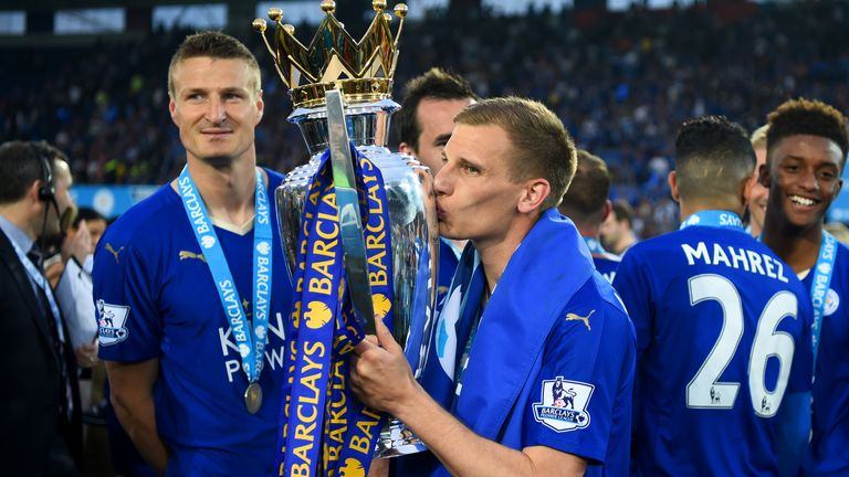 Marc Albrighton with the trophy during the Barclays Premier League match between Leicester City and Everton at The King Power Stadium on May 7, 2016 in Leicester, United Kingdom.
