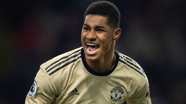 BURNLEY, ENGLAND - DECEMBER 28: Marcus Rashford of Manchester United celebrates scoring the second goal during the Premier League match between Burnley FC and Manchester United at Turf Moor on December 28, 2019 in Burnley, United Kingdom. (Photo by Visionhaus) *** Local Caption *** Marcus Rashford
