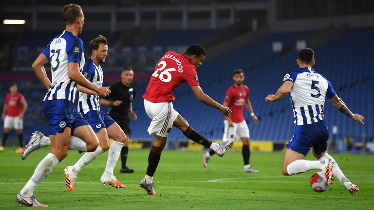 Mason Greenwood scores for Manchester United against Brighton in June 2020