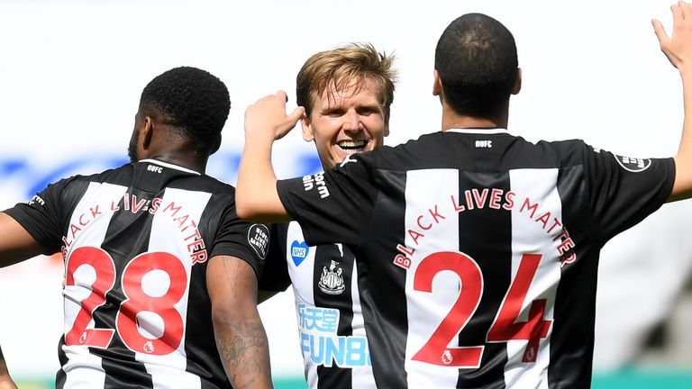 Matt Ritchie is congratulated after doubling Newcastle's lead