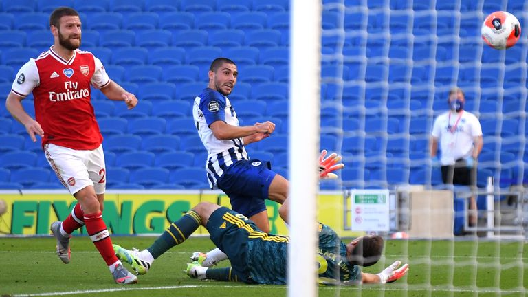Neal Maupay scores Brighton's 95th minute winner