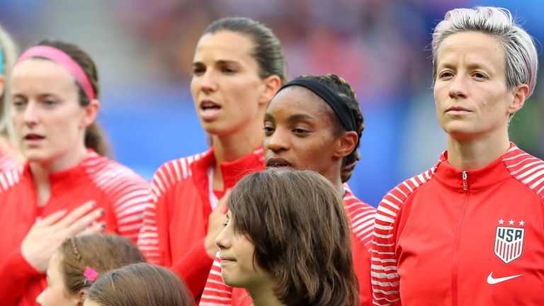 Megan Rapinoe during US national anthem