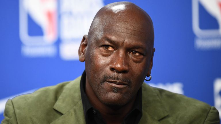 Charlotte Hornets owner Michael Jordan addresses the media at the 2020 NBA Paris Game
