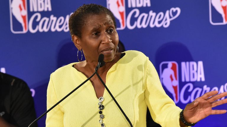 NBPA executive director Michele Roberts addresses the media at a 2019 NBA Cares event