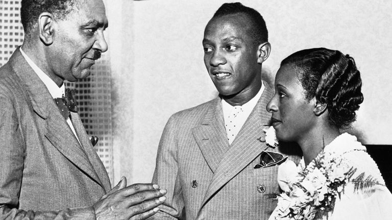 Johnson met and got to know Owens' widow Minnie Ruth Solomon (right) through his career