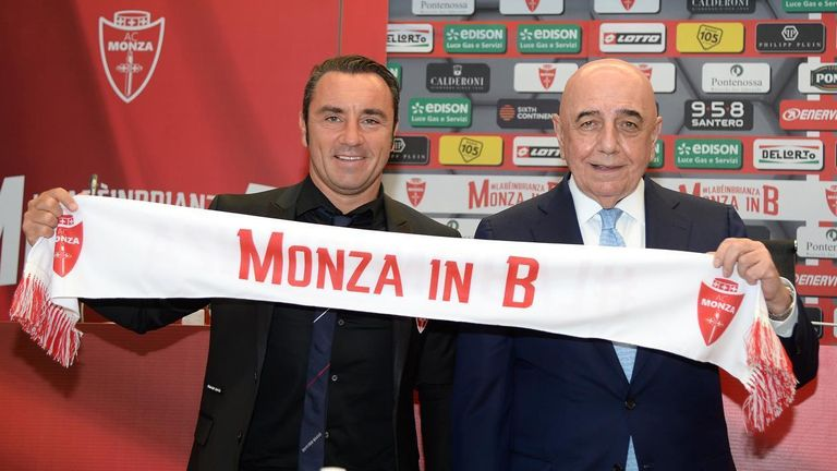 Monza manager Cristian Brocchi (left) and chairman Adriano Galliani (right) celebrate the club's promotion to Serie B