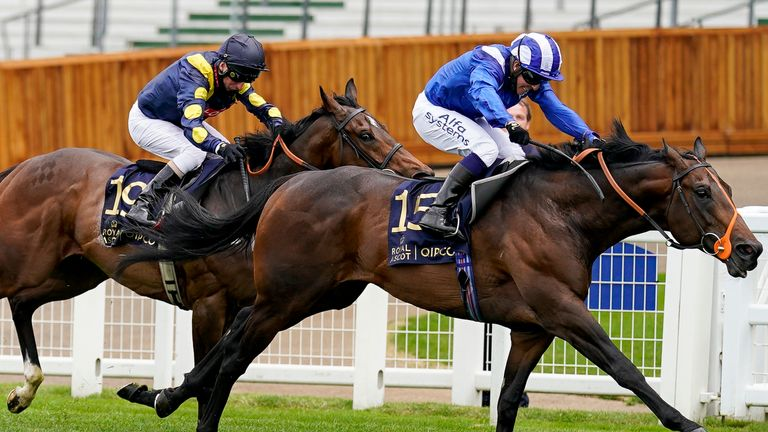 Jim Crowley riding Motakhayyel (R) wins The Buckingham Palace Handicap at Ascot Racecourse on Day 1 of the Royal Meeting