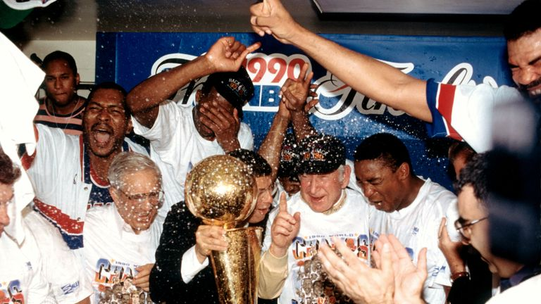 Relive Game 5 of the NBA Finals in 1990 as the Bad Boys Detroit Pistons overcame Clyde Drexler's Portland Trail Blazers to secure back-to-back championships.