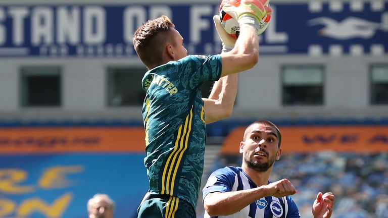 Brighton striker Neil Maupay's challenge on Bernd Leno led to a serious injury for the Arsenal goalkeeper.