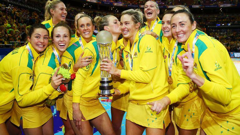 Australia celebrate winning the 2015 Netball World Cup