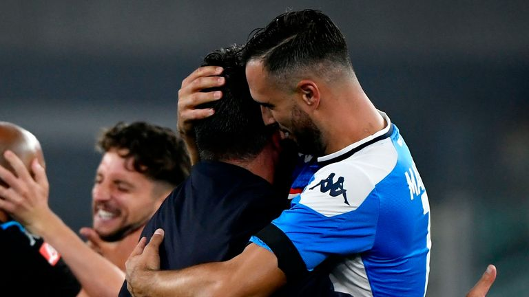 Napoli celebrate their dramatic penalty shootout win over Juventus